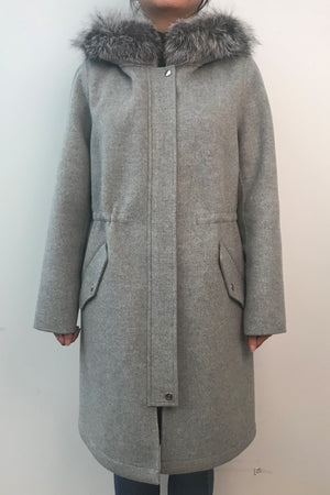 Wool Coat with Silver Fox Trim Hood