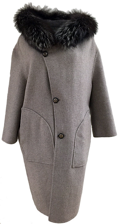 "38"" Reversible 100% Cashmere Coat with Oversized Fox Hood - Size Small"