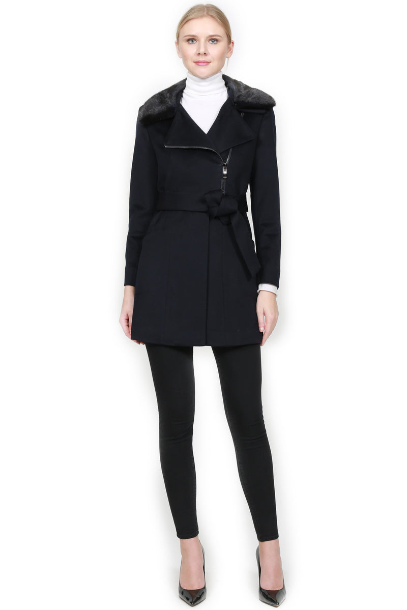 Cashmere Coat with Mink Collar and Belt
