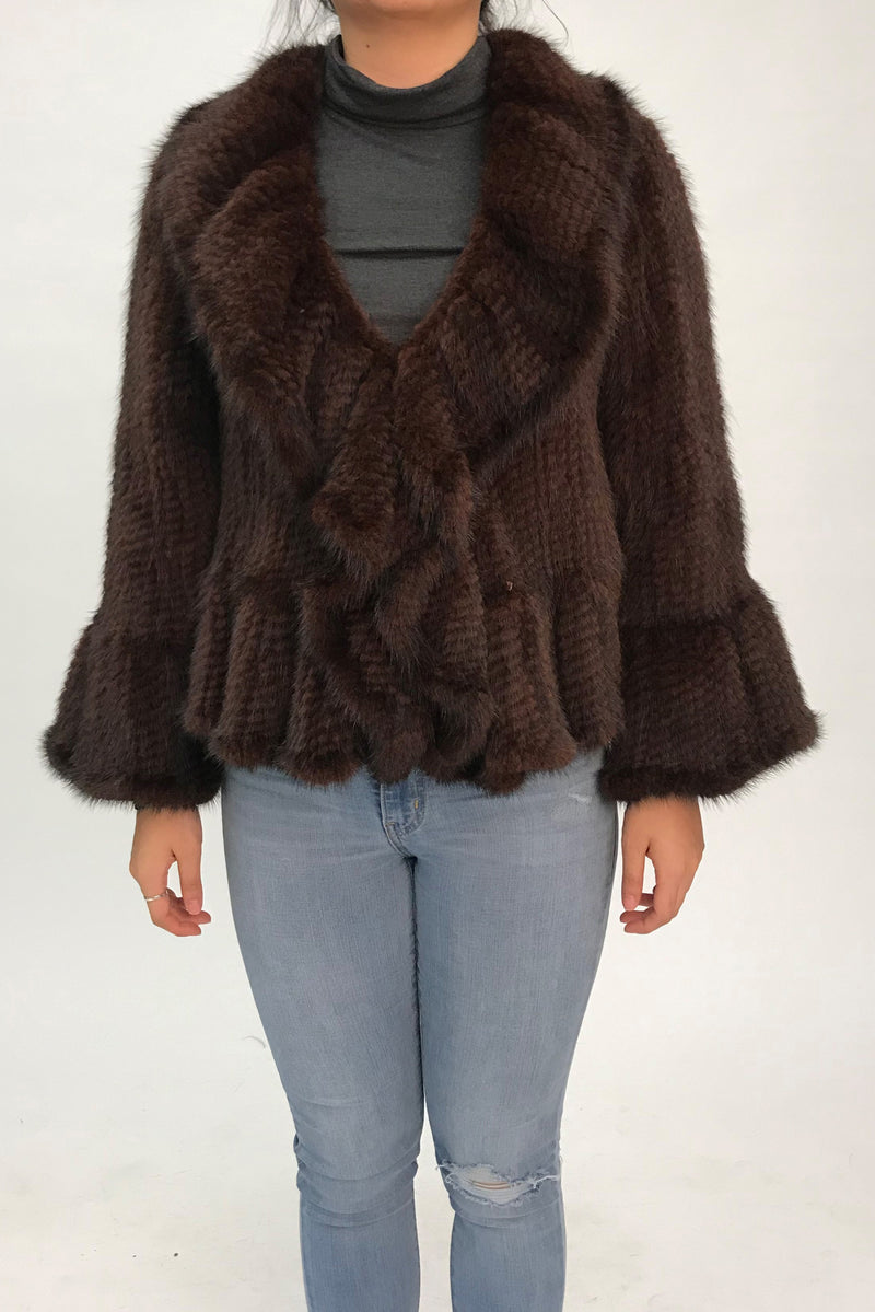Knitted Mink Short Jacket