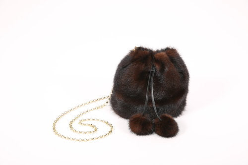Full Skin Mink Purse with Drawstring