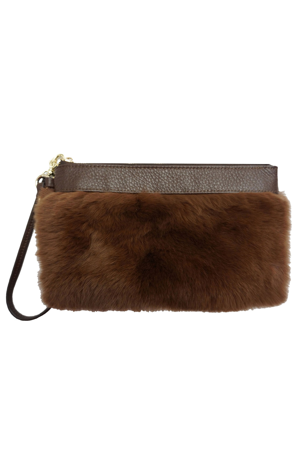 Patent Leather Wristlet with Rex Fur