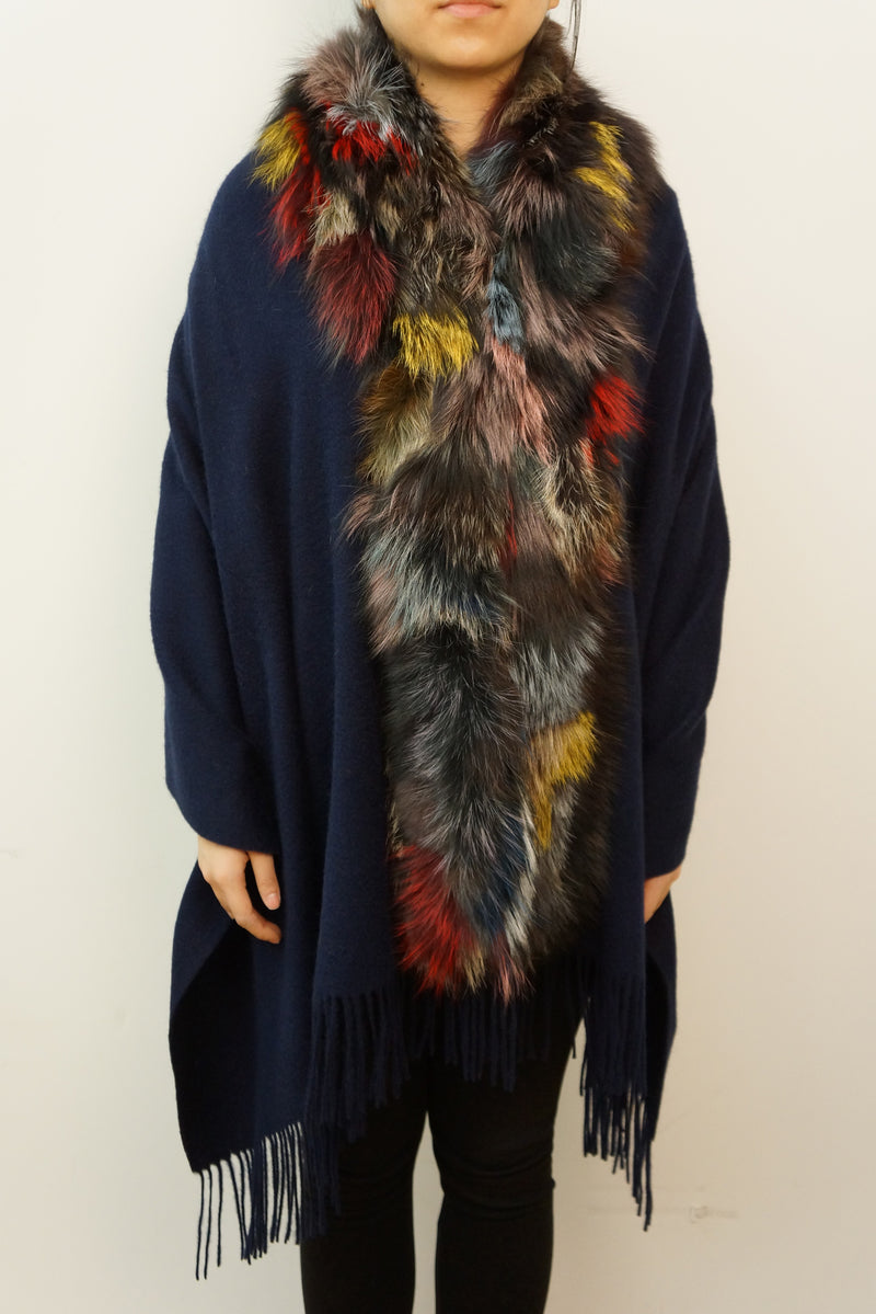 Cashmere Blend Wrap with Oversized Silver Fox Collar