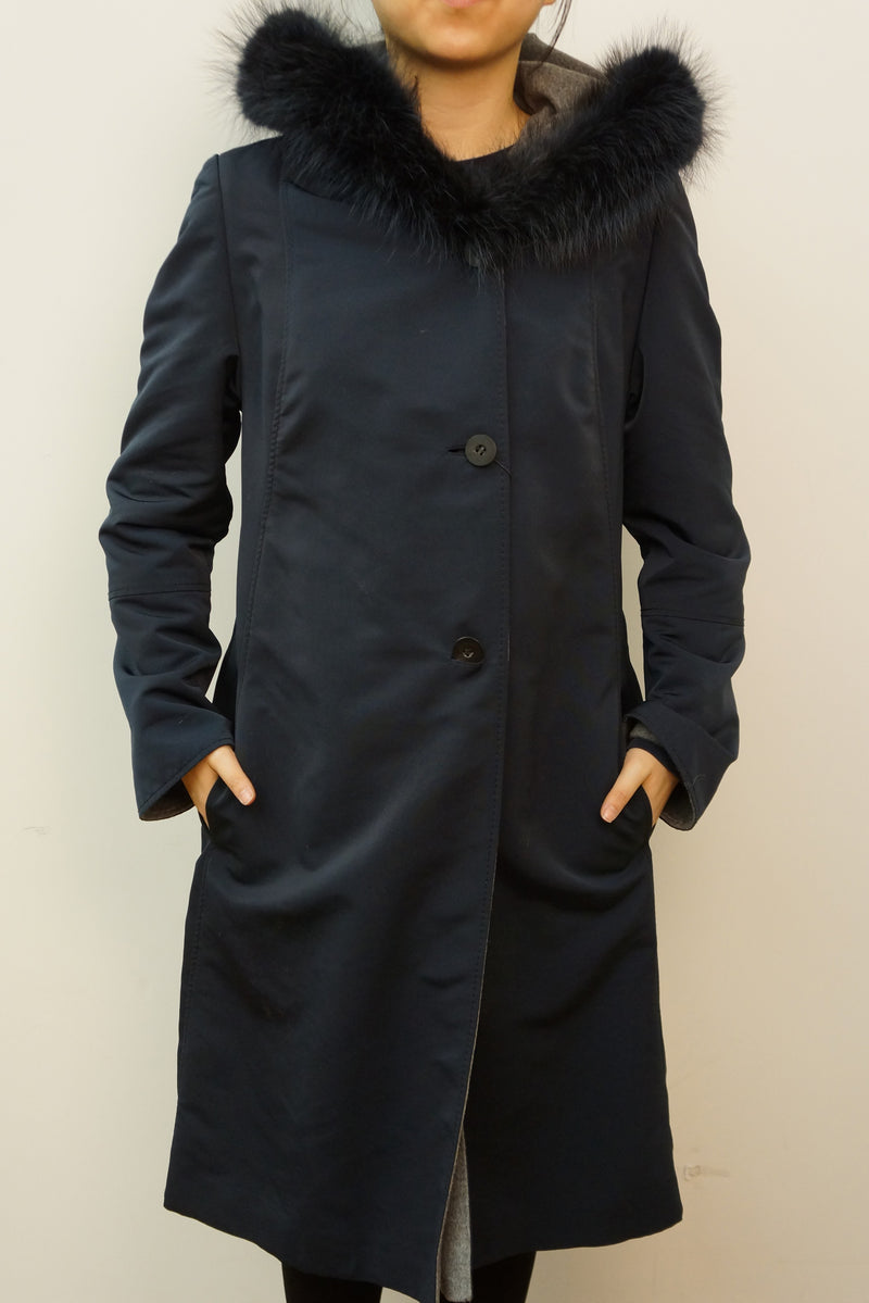 Reversible Microfabric Coat with Raccoon Trim