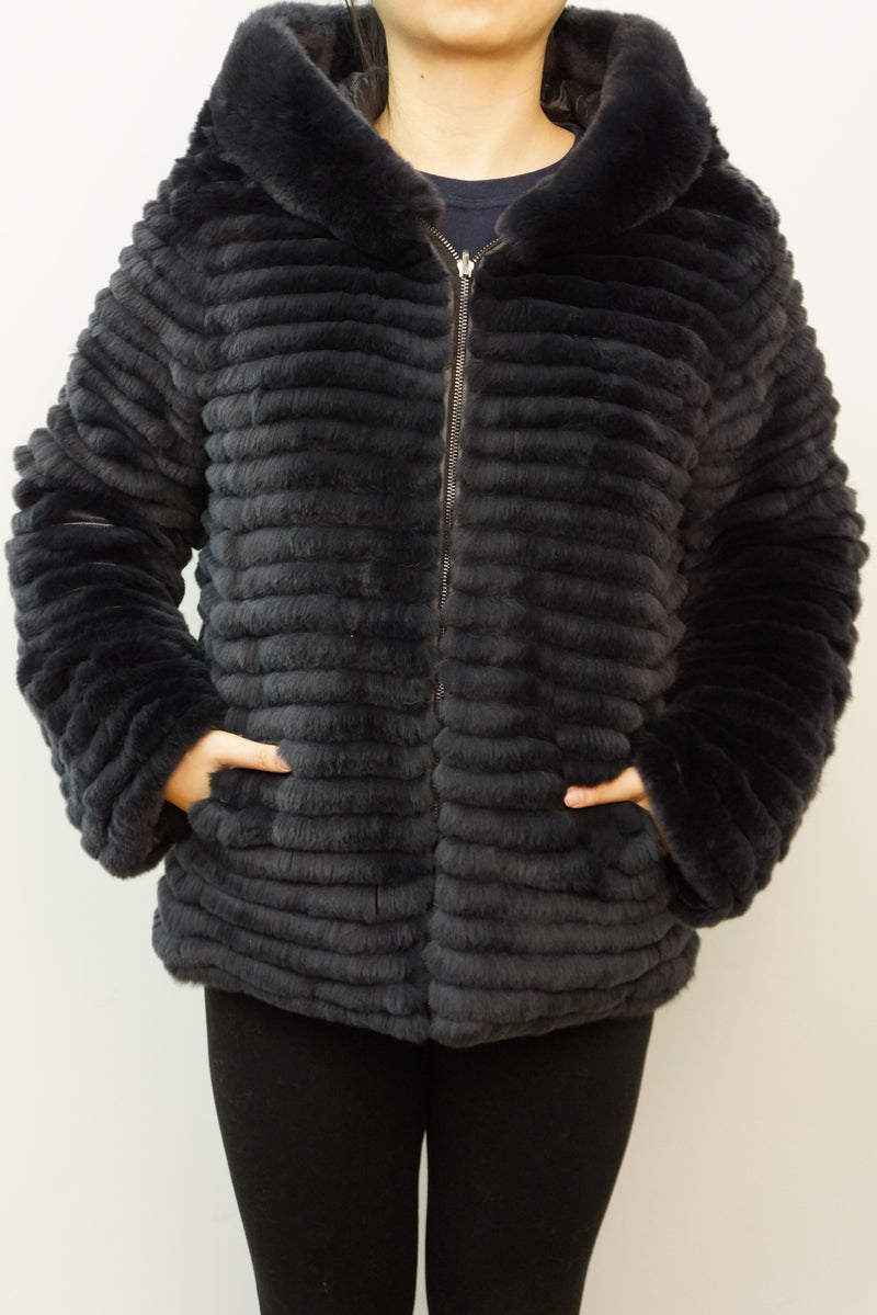 Reversible Layered Rex Rabbit Down Coat