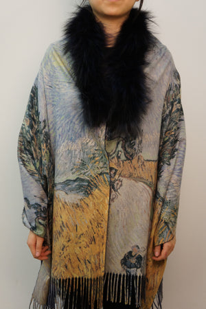 Cashmere Blend Print Cape with Silver Fox Collar