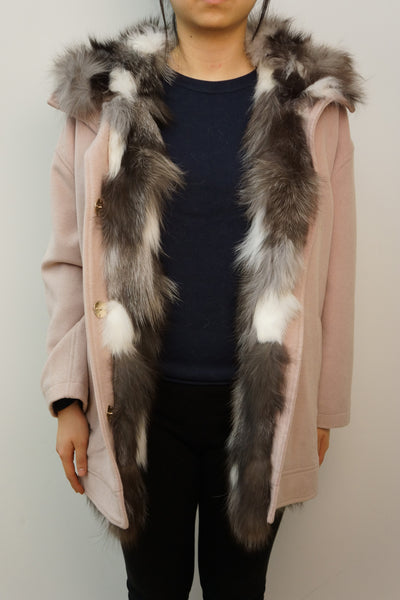 Wool Coat with Silver Fox Trim