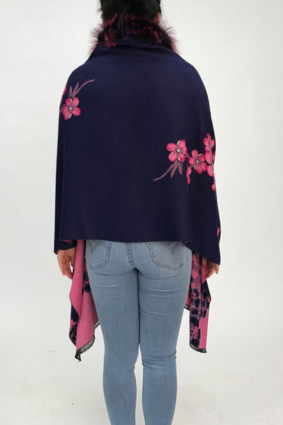 Floral Cape with Silver Fox