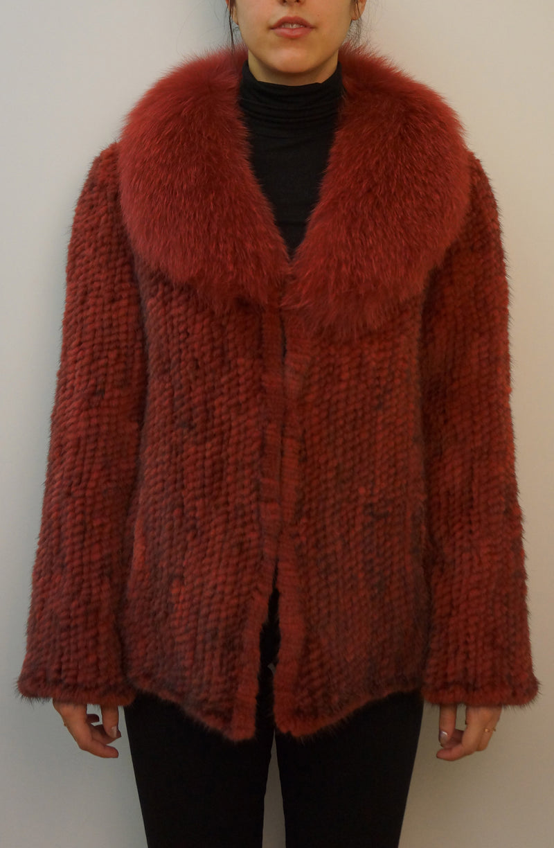 Knitted Mink Jacket with Fox Fur Collar