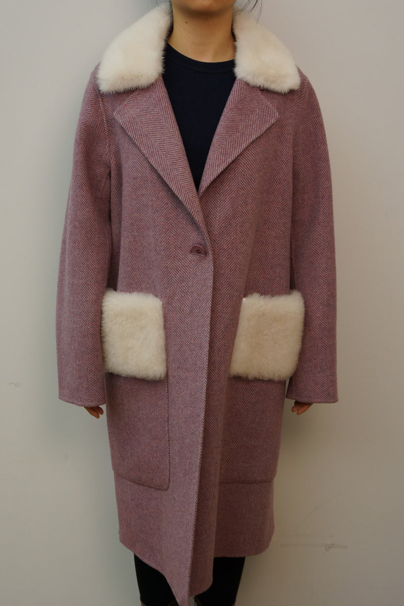 Wool Coat with Mink Collar and Lamb Patch Pockets