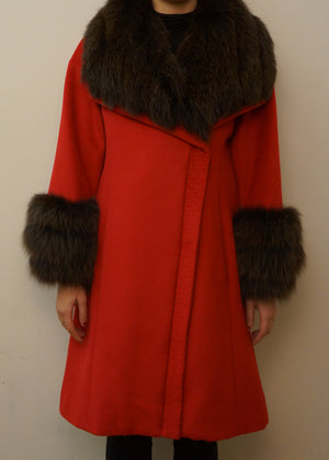 Cashmere Coat with Raccoon Collar and Cuffs