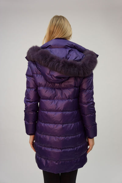Lightweight Down Jacket with Fox Trim