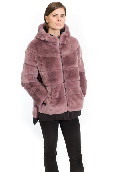 Rex Rabbit Coat with Hood and Side Zippers