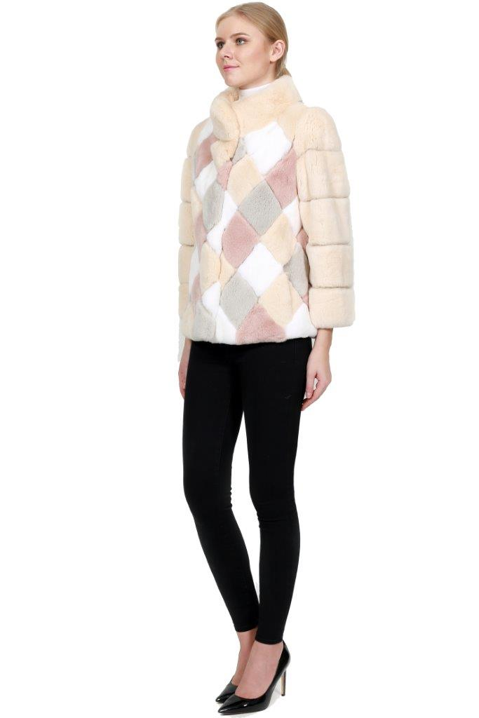 Rex Coat with Multicolor Diamond Pattern