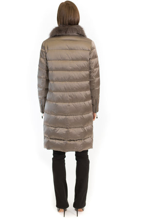 Down Jacket with Merino and Fox Collar