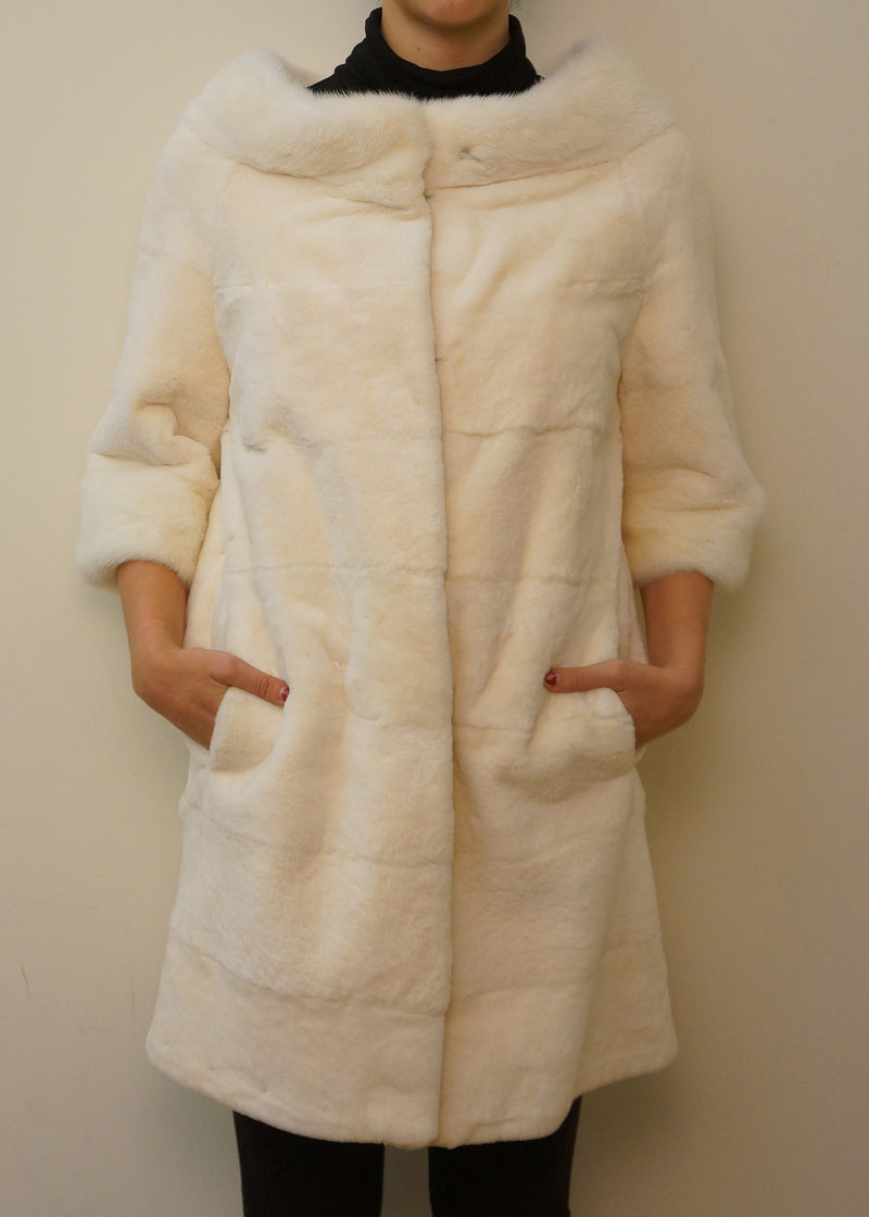 Wide Shoulder Full Skin Rex Rabbit Coat with Mink Collar and Cuff