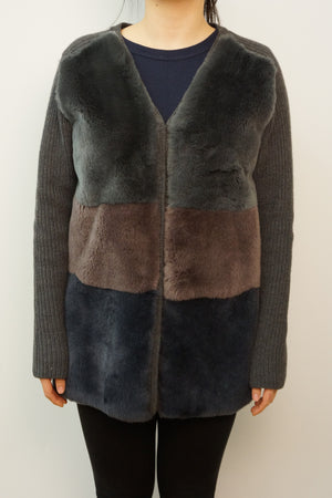 Knitted Jacket with Rex Rabbit Front Panel