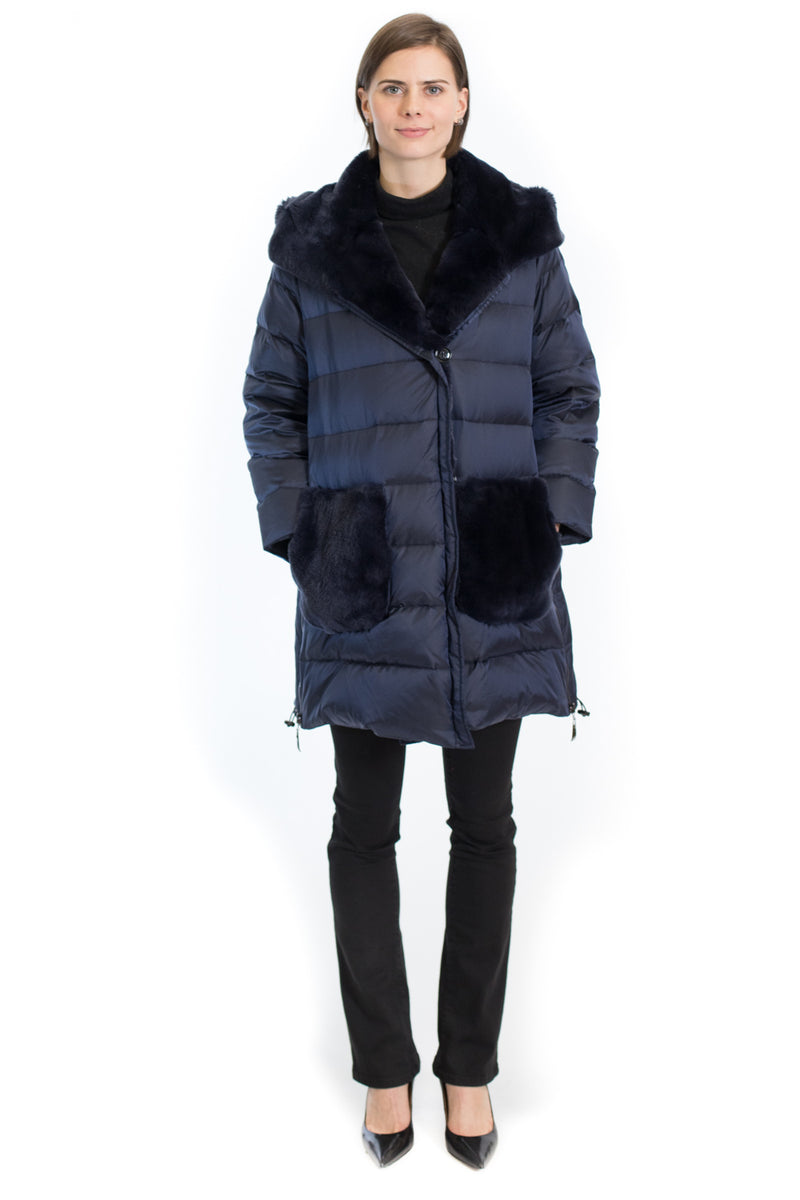 Down Jacket with Rex Rabbit Colllar