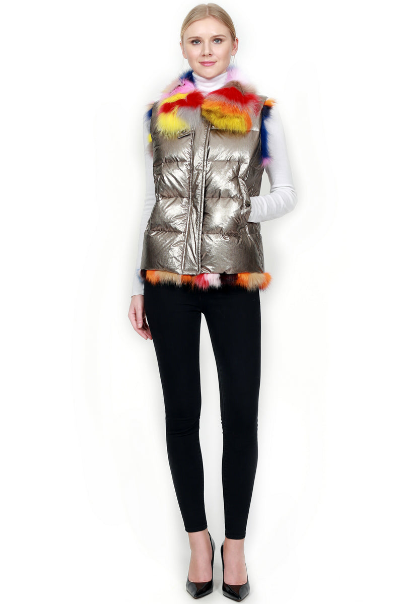 Metallic Down Vest with Fox Trim