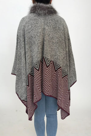 Wool Cape with Silver Fox Collar