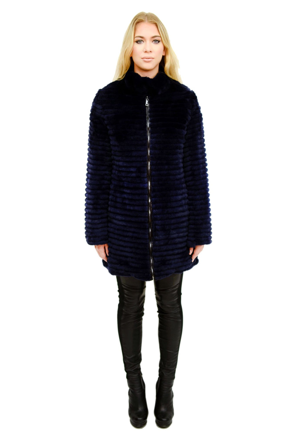 Microfabric Down and Layered Rex Rabbit Reversible Coat