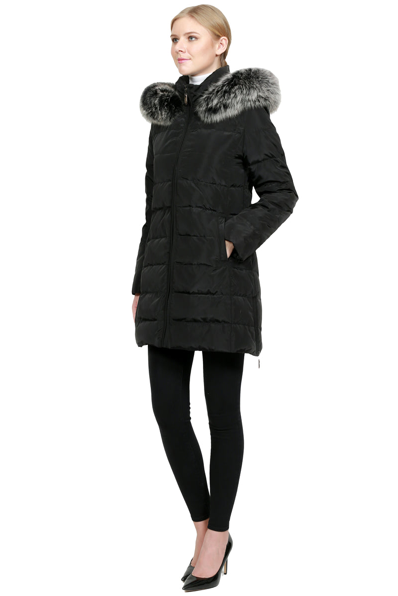 Puffer Jacket with Fox Trim