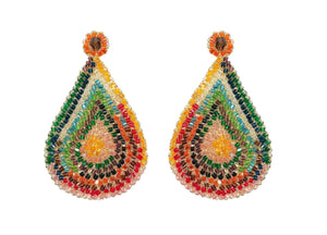 Large Multicolored Hand Made Crochet Tear Drop Earrings