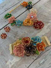 Load image into Gallery viewer, Multicolored Hand Made Crochet Flower Bib Necklace