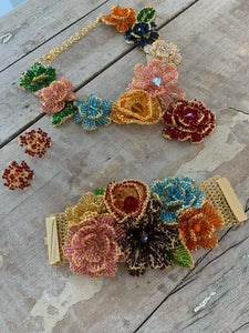 Multicolored Hand Made Crochet Flower Bib Necklace