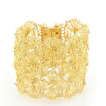 Load image into Gallery viewer, Large Gold Hand Crochet Cuff