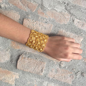 Large Gold Hand Crochet Cuff