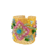 Load image into Gallery viewer, Embroidered Pastel Crochet Cuff