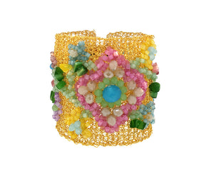 Embroidered Pastel Crochet Cuff