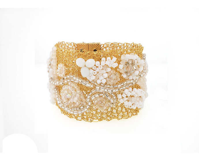 Embroidered White Crochet Cuff