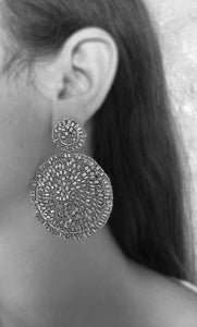 Crystal Clear Hand Crochet Mandala Earrings