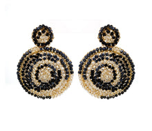 Load image into Gallery viewer, Classic Hand Crochet Black and White Mandala Earrings