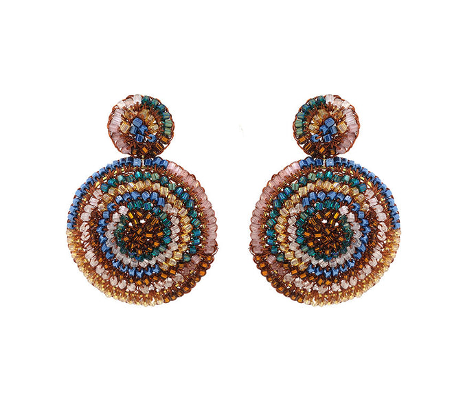 Caramel Hand Crochet Mandala Earrings