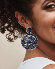 Load image into Gallery viewer, Navy Hand Crochet Mandala Earrings