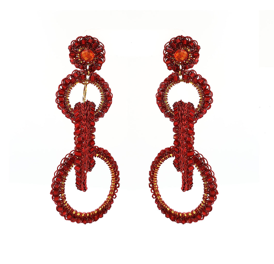 Red Hand Crochet Interlocked Links Earrings