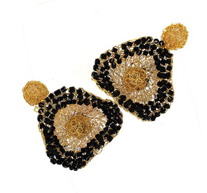Buttercup Hand Crochet Gold Ruffled Earrings