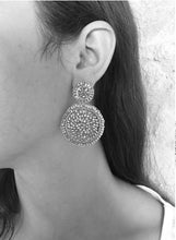 Load image into Gallery viewer, Red Velvet Small Hand Crochet Mandala Earrings