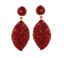 Load image into Gallery viewer, Red Velvet Leaf Hand Crochet Earrings