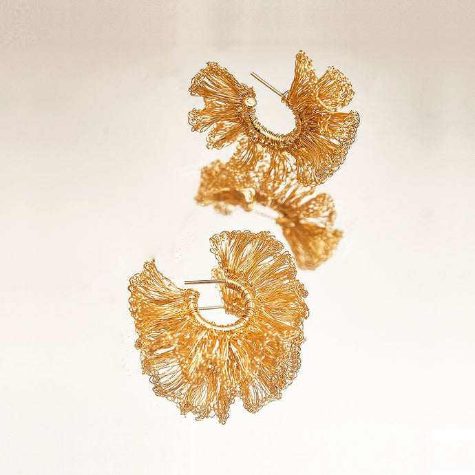 Small Hand Crochet Gold Ruffled Hoops