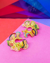 Load image into Gallery viewer, Multicolored Small Hand Crochet Ruffled Hoops