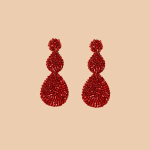 Red Velvet Crochet Double Tear Drop
