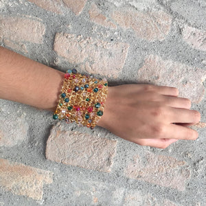 Multicolored Open Mesh Crystal Cuff