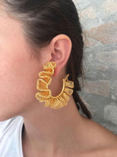 Load image into Gallery viewer, Gold Hand Crochet Ruffled Hoops