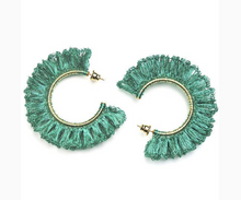 Load image into Gallery viewer, Turquoise Hand Made Crochet Ruffled Hoops