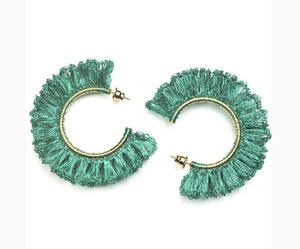 Turquoise Hand Made Crochet Ruffled Hoops