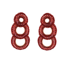 Load image into Gallery viewer, Red Velvet Long Hand Crochet Cascade Earrings